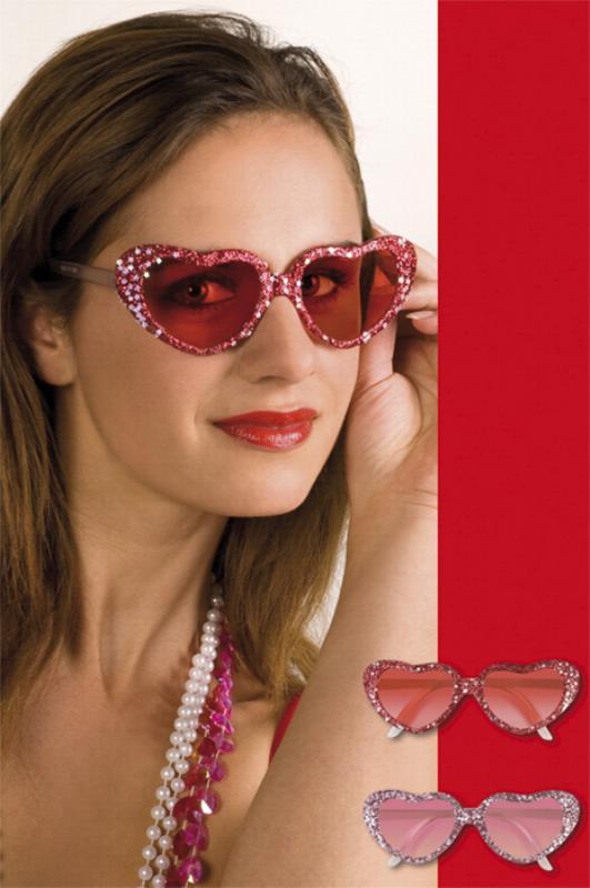 Partybrille Herz, Liebe rot und rosa, Glitter mit Sternchen, Disco, Mottoparty