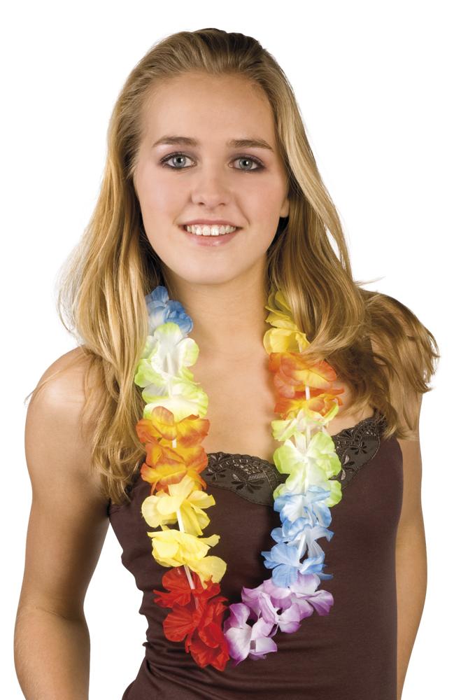 12 x Hawaii Kette Blumenkette bunt Mottoparty Karneval