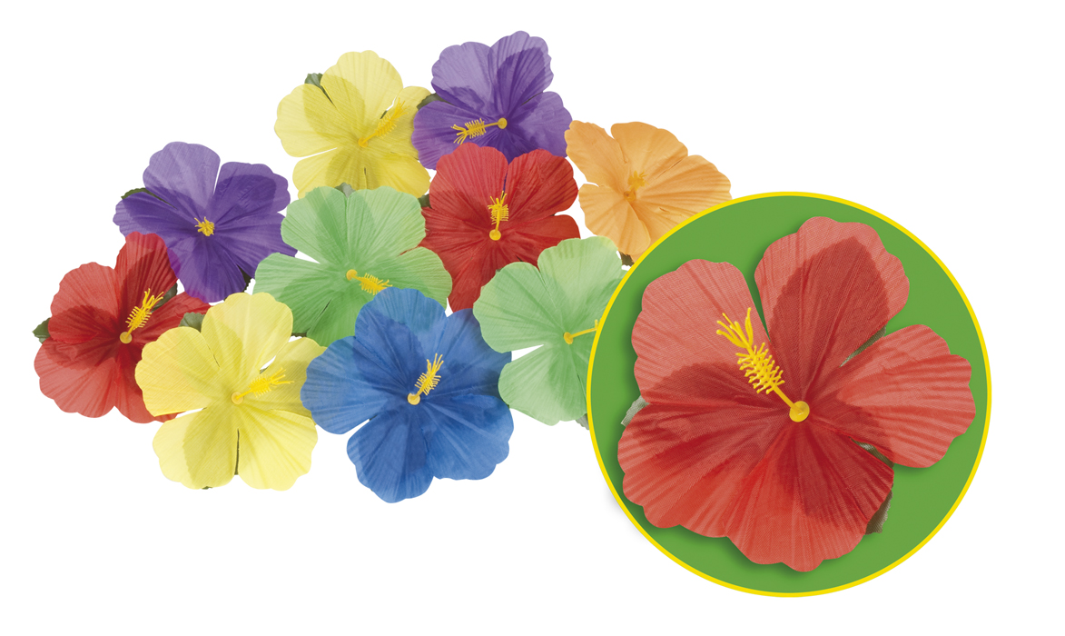 24 Stück Hibiskus Deko Set, Party Blüten, Blätter