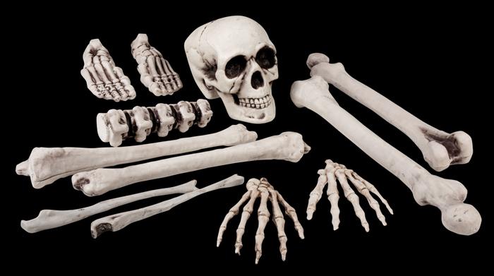 12 tlg. Schädel Knochen und Gebeine, Deko Halloween, Grusel 7439