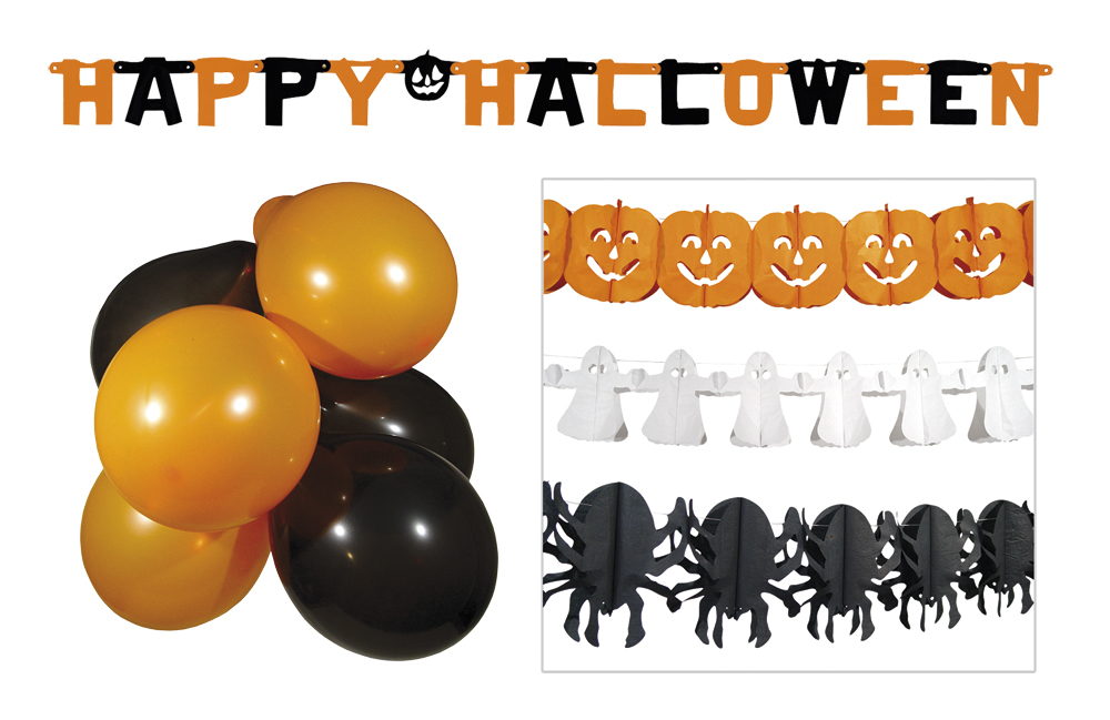 5 tlg.Halloween Set Raum Deko,Girlanden Kürbis, Luftballon,Geist Spinne