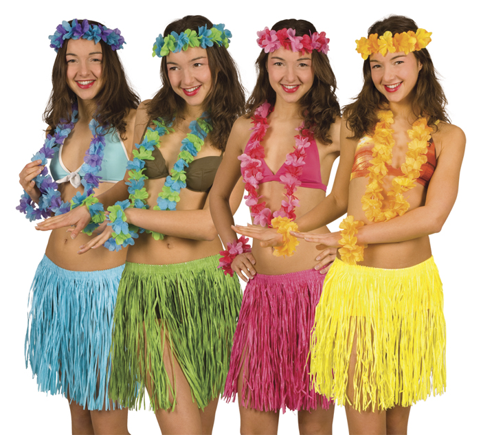 5 tlg. Hawaii Set, Rock, Kette, Arm- Kopfband blau,gelb,pink.grün