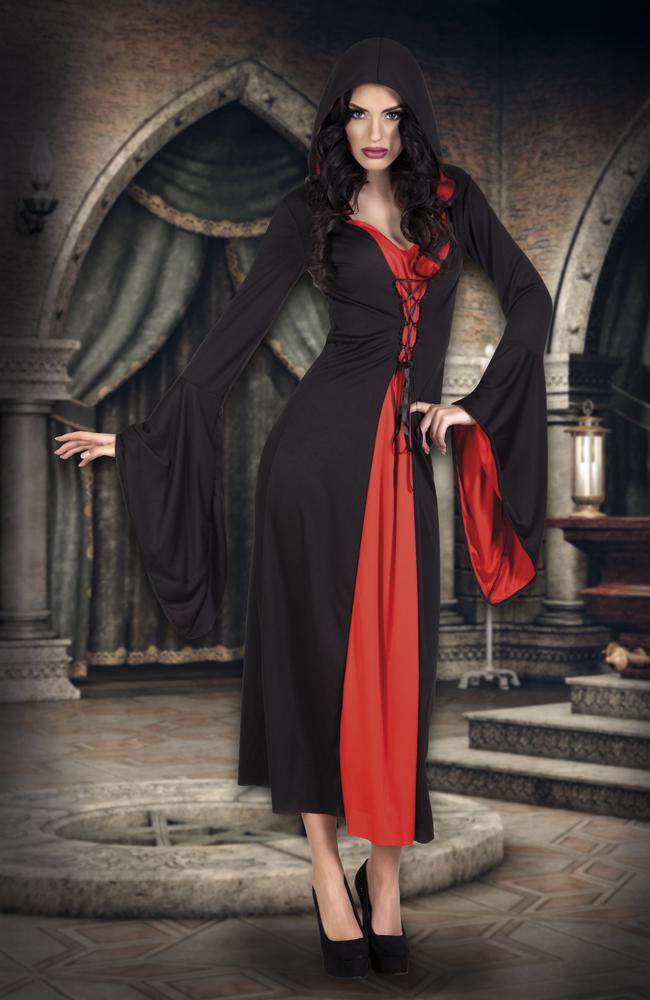 Vampir Kostüm Damen,Hexe,Gothic schwarz rot S,M,L,XL Halloween Karneval