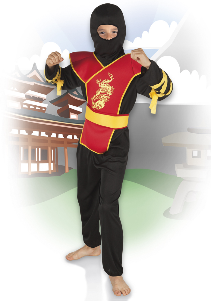 5 tlg.Ninja Kostüm, schwarz rot Samurai, Kinder, 128- 134-140- 158