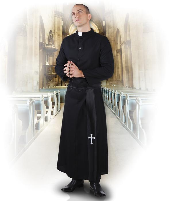 Priester Pfarrer, Pastor, Gewand,Kostüm Knopfleiste Gürtel M + L