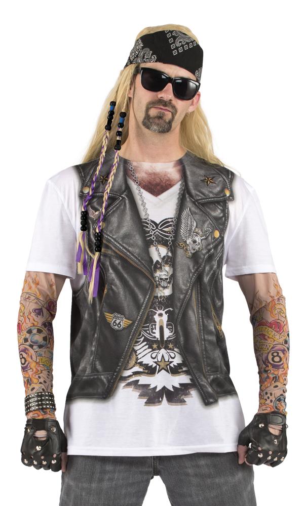 Biker Fotorealistisches T Shirt Gesamtmotiv Karneval Mottoparty L, XL