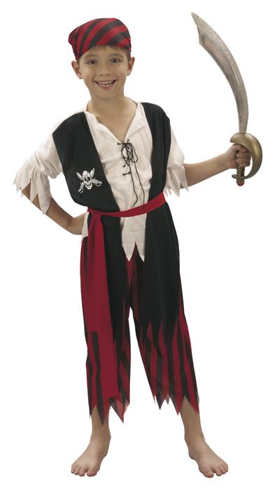 4 tlg. Piratenkostüm Kinder, Jungen, Seeräuber 128-140  7-9 Jahre