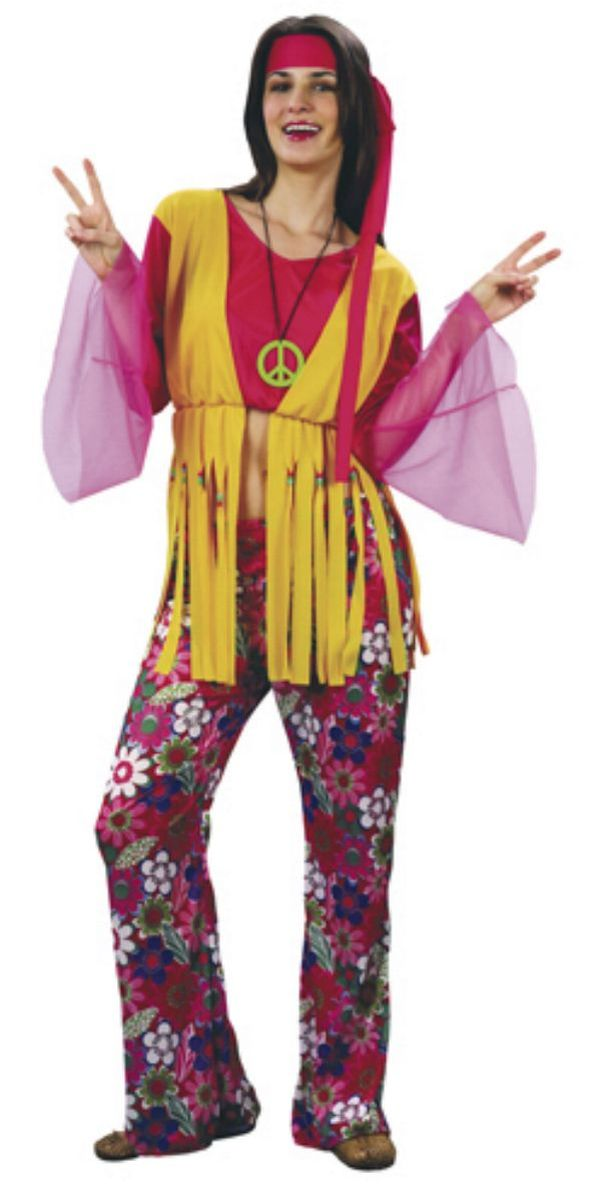 70er Hippie  Kostüm 3tlg bauchfrei  S-M 36/38 Mottoparty Damen %%