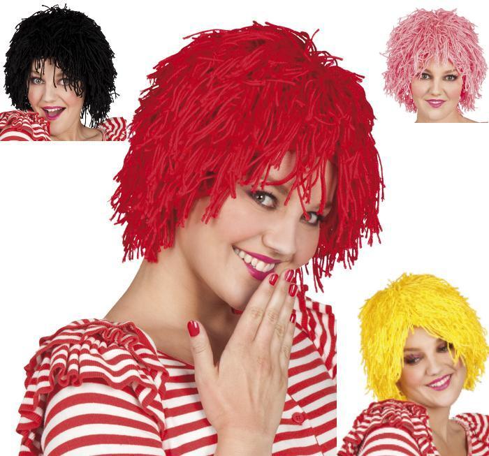 Clown Zirkus, Fransen Wolle Perücke rot, schwarz, rosa, gelb,  8620