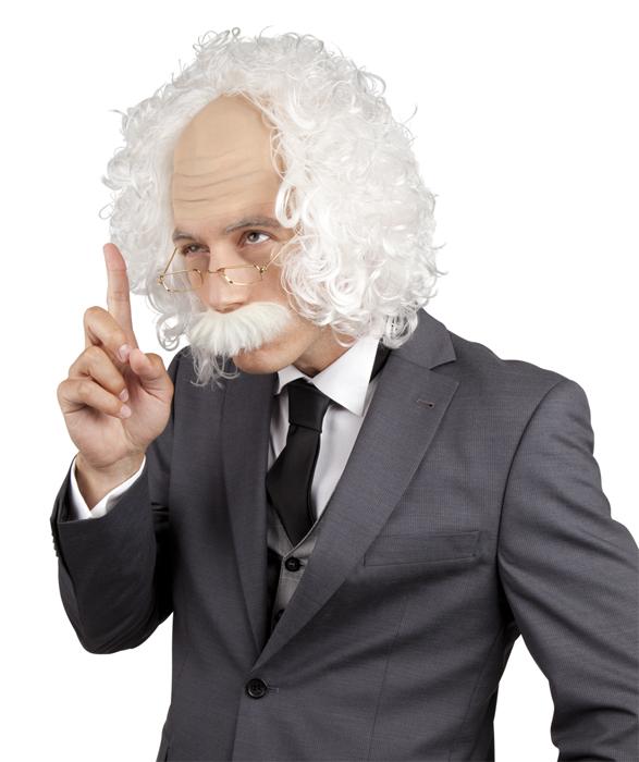3 tlg.Professor Perücke grau/weiß mit Schnurrbart u. Brille   8635