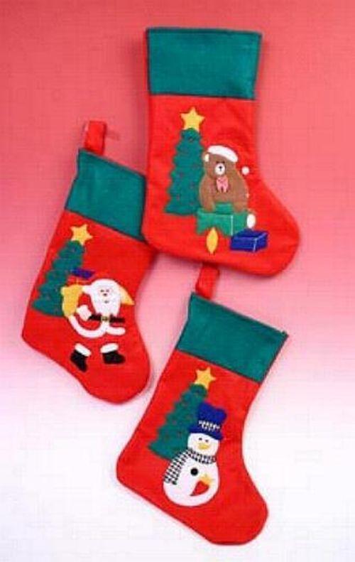 3 x Filzsocke Weihnachtstiefel Geschenkbeutel m. Motiv