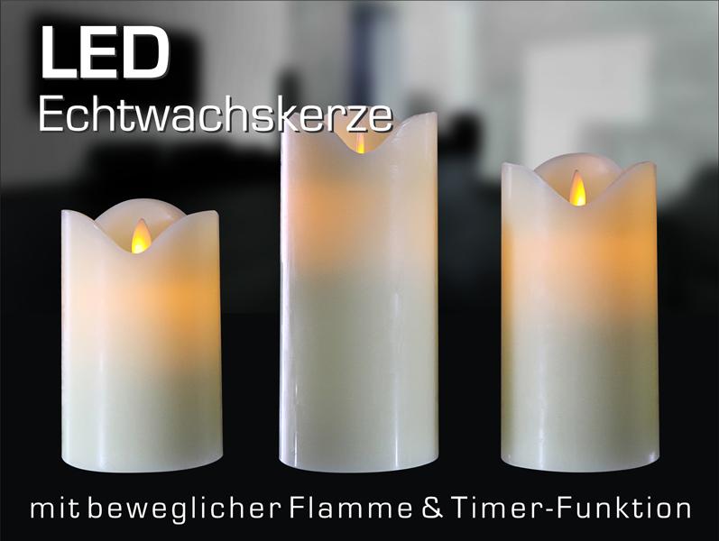 LED Kerze, bewegliche Flamme, TIMER, Flammenlos, creme weiß, 8 cm Ø wie echt