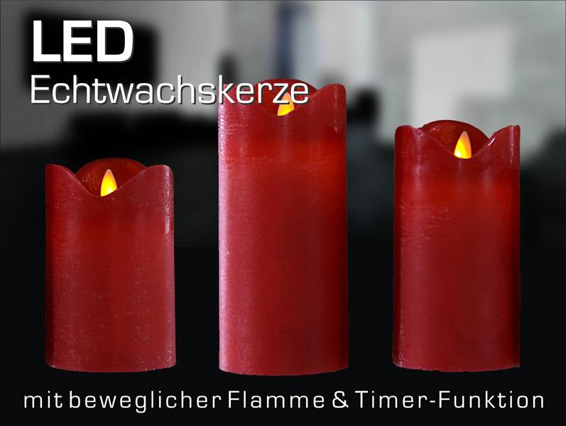 LED Kerze, bewegliche Flamme, TIMER, Flammenlos, ROT, 8 cm Ø wie echt