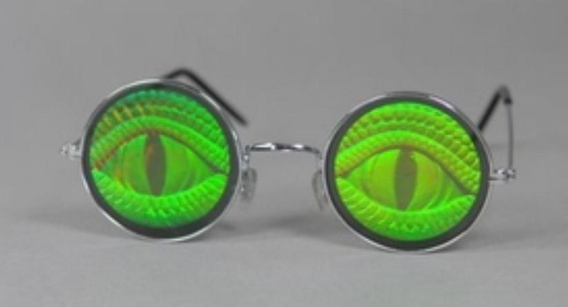 Holografie Brille, rund Totenkopf,Reptilaugen Mottoparty Halloween