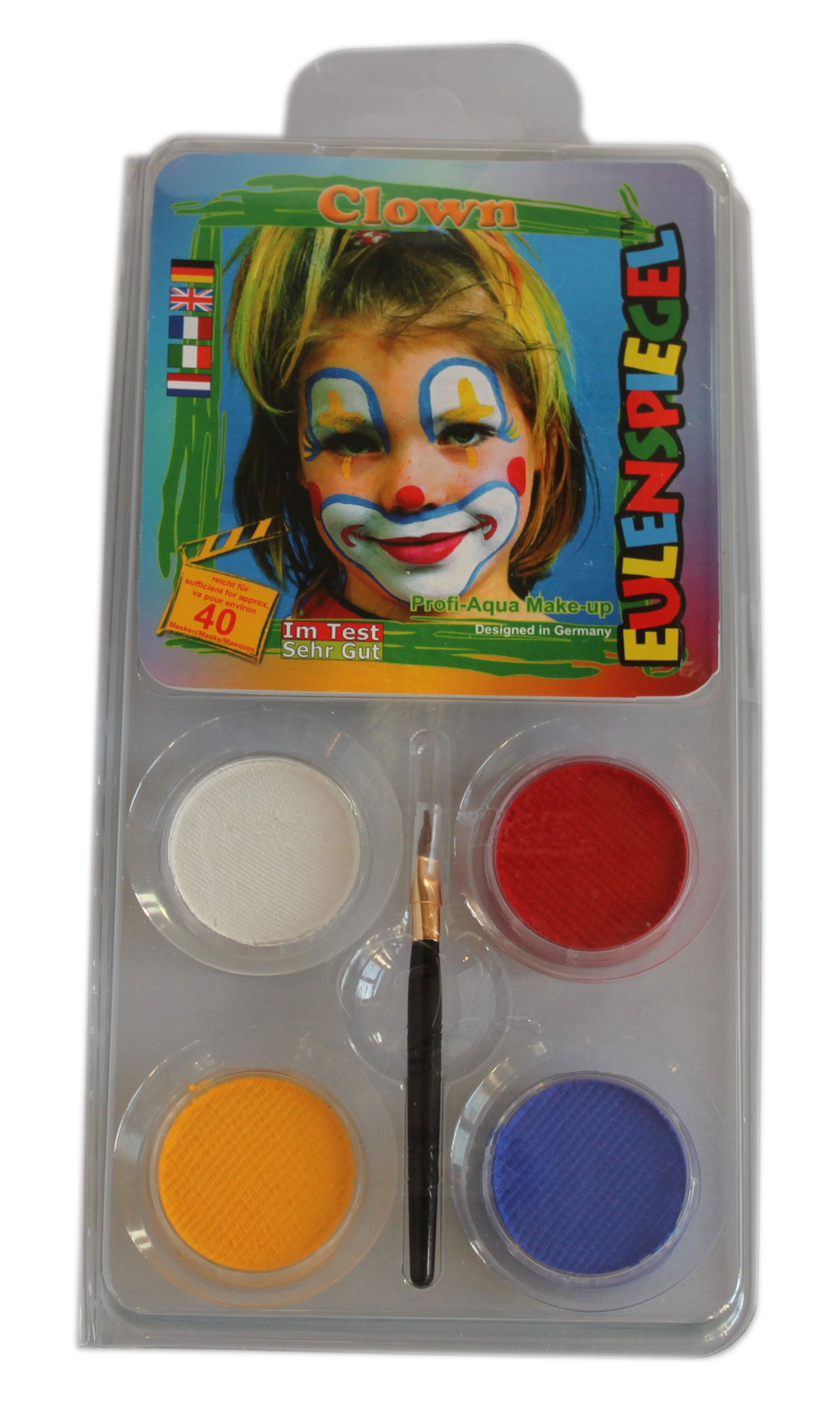 CLOWN Aqua Schminke Motiv Set, Make up,Eulenspiegel Karneval
