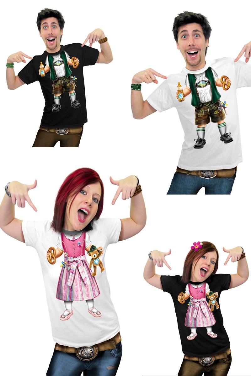 FUN T-Shirt Oktoberfest BABY Bayer Lederhose Dirndl Damen Herren