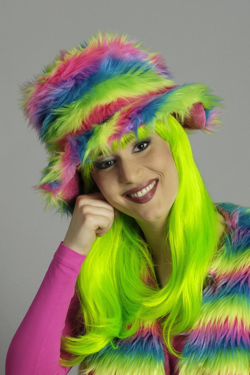 3 tlg Plüschweste,Hut,Stulpen, Hippie Neon Regenbogen Kostüm,Damen