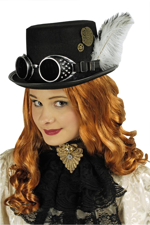 2 tlg Zylinder,Steampunk schwarz + Fliegerbrille Mittelalter Gothic Damen
