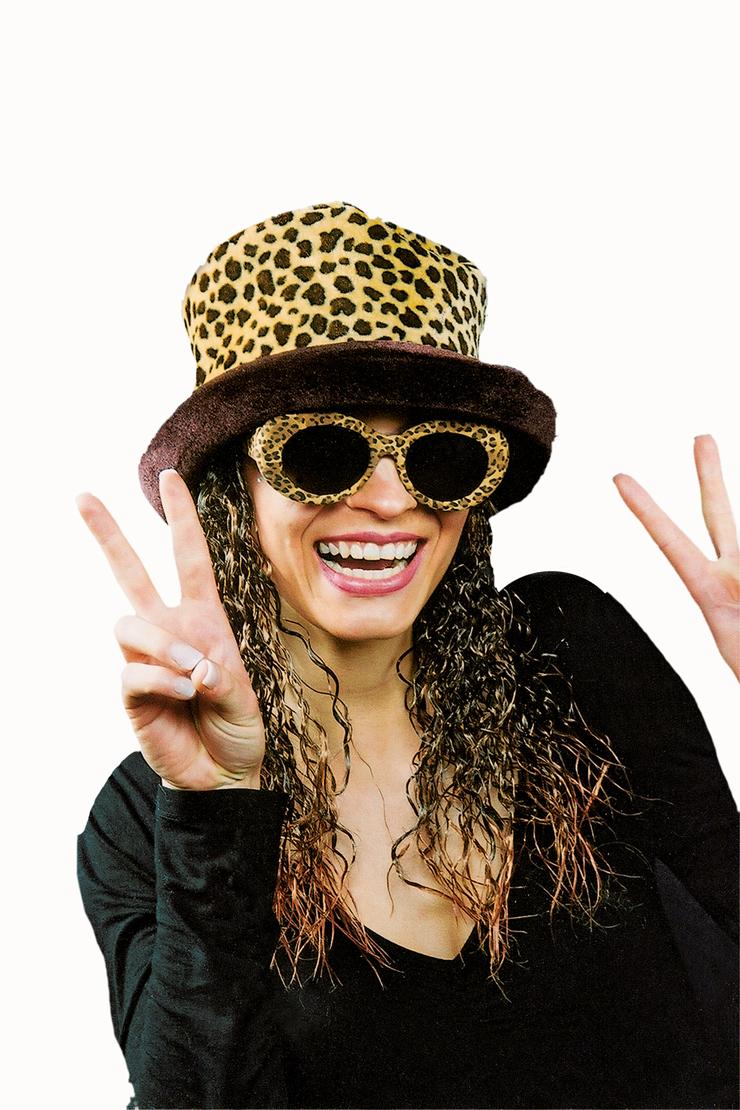 2 tlg Plüsch Hut Leopard m. gelockten Haaren + Brille Leopard braun pink 80er