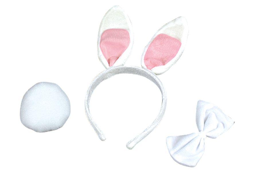 Hasen Haarreif, Puschelschwanz + Fliege weiß-rosa 3tlg. Set Kinder Karnveal
