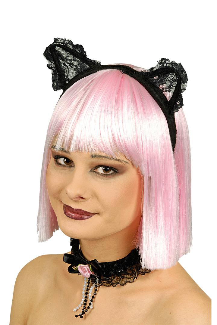 Katzenohren, Haarreif mit Spitzen Halsband Set schwarz Damen