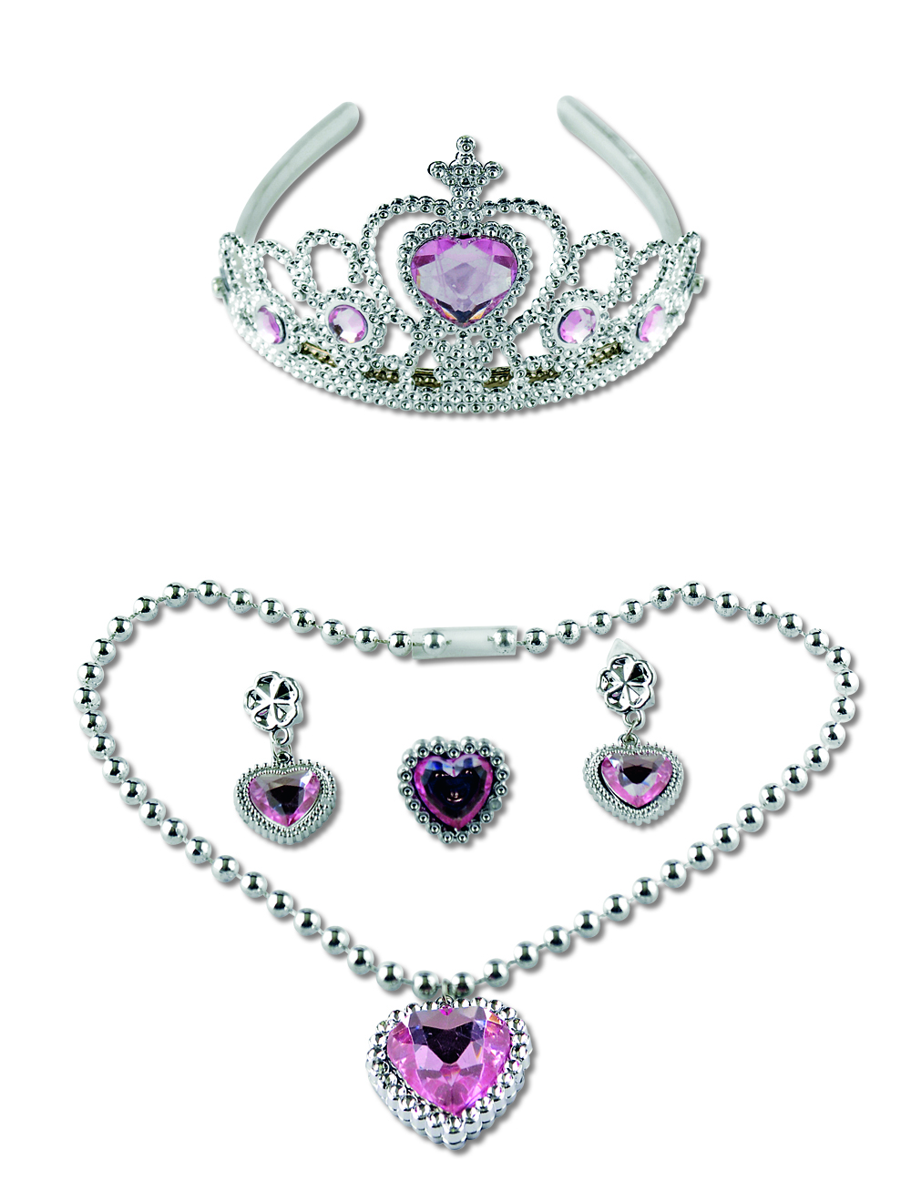 4 tlg. Schmuckset KINDER Prinzessin, Diadem, Kette, Ohrclips rosa