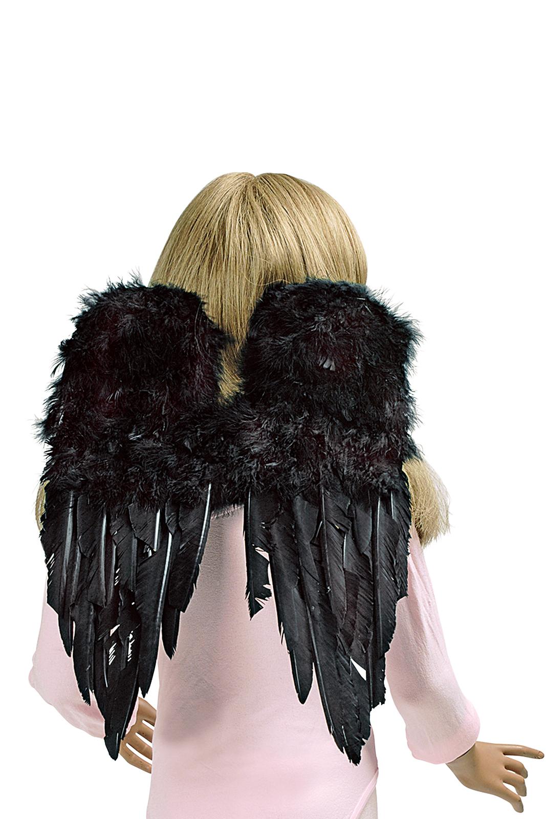 Engel Flügel, Federn SCHWARZ, Kinder Erwachsene 30x45 cm, Weihnachten Karneval