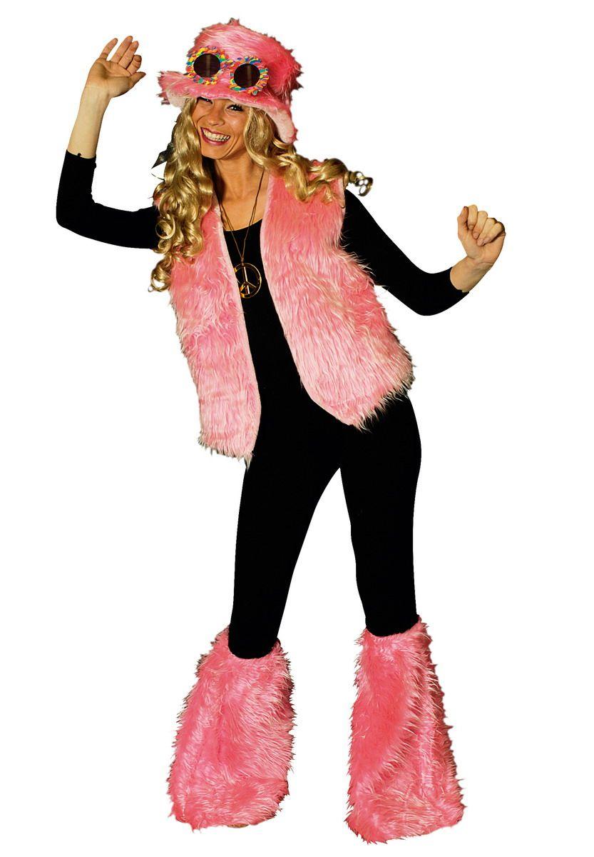 3 tlg Plüsch Weste,Hut,Stulpen, 80er Hippie PINK Kostüm, Damen