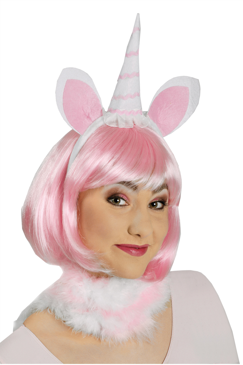 Einhorn Haarreif rosa weiss,  Damen, größere Kinder Zubehör Kostüm