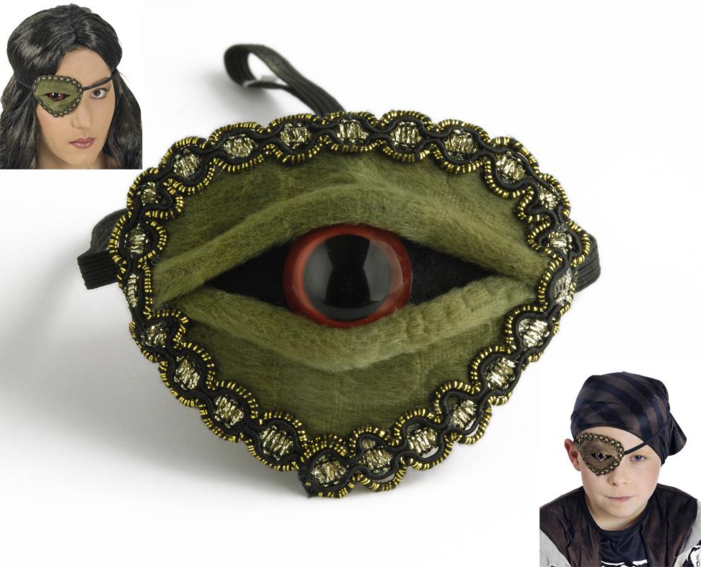 Augenklappe ECHSENAUGE grün o. braun Damen Herren, Kinder Halloween Pirat