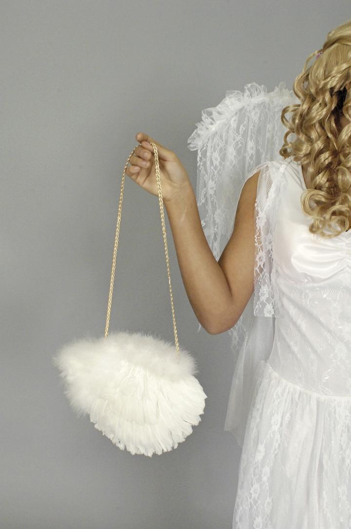 Feder Marabou Tasche Engel Weihnachten Handtasche m Kordel, Reißverschluß
