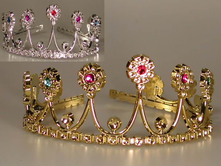 Diadem,Krone silber o. gold mit Schmuck Blüten, Kinder, Prinzessin (K)