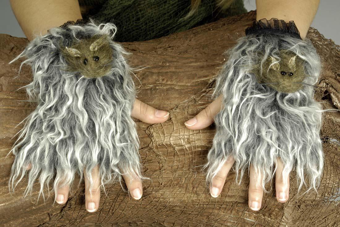 Fell Handschuhe Stulpen Fingerlos m. Ratte, Werewolf Werwolf