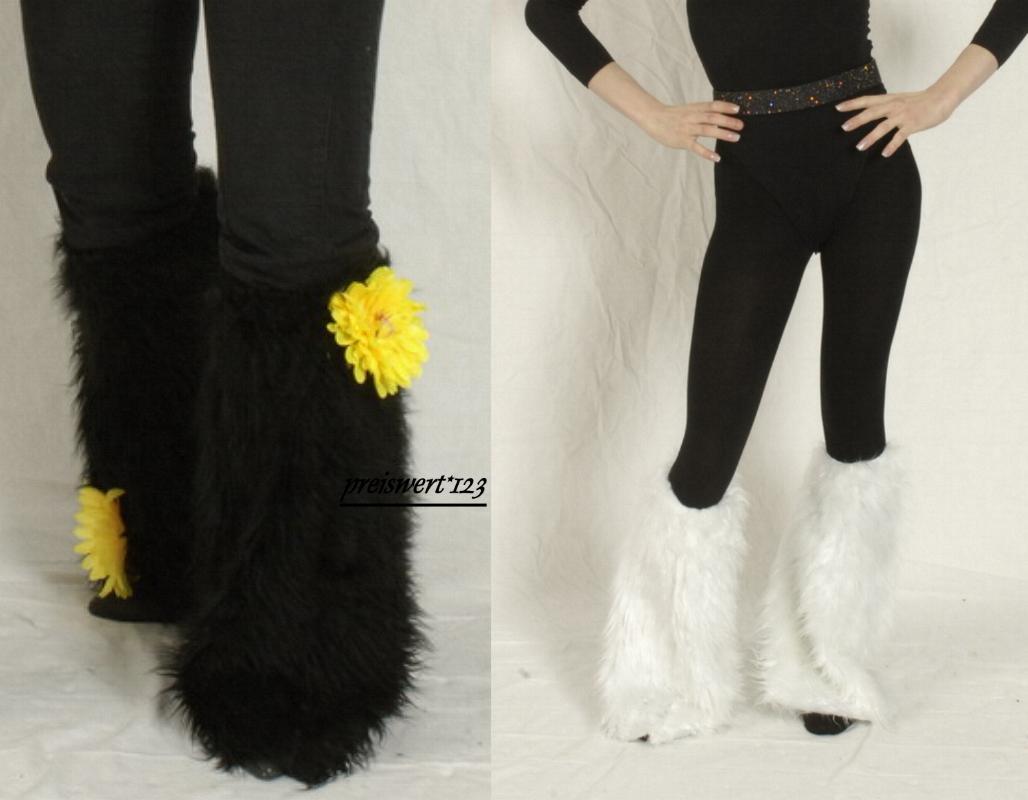 2 Fellstulpen,Stulpen schwarz oder weiß  46 cm, Kostüm, Raver, Hippie
