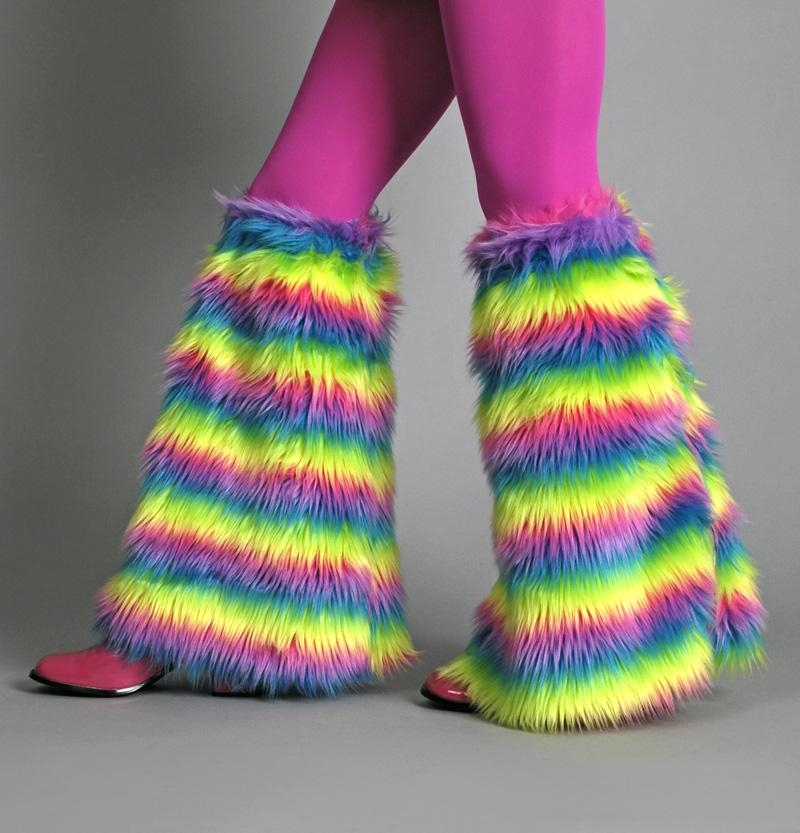 2 Fellstulpen, Hippie 70er 80er Jahre Neon Regenbogen ca. 46 cm, Karneval