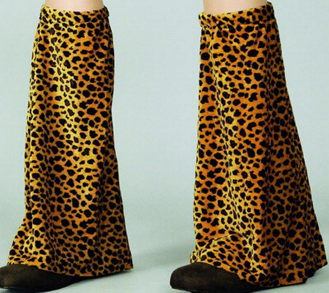2 Fellstulpen, Leoparden Muster ca. 46 cm, Karneval, Mottoparty