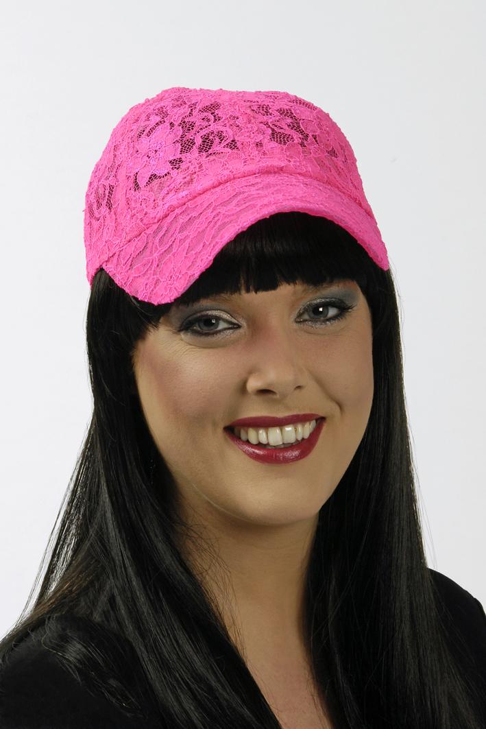 6 x NEON pink Base Cap Kappe Mütze Damen und größere Kinder aus Spitze