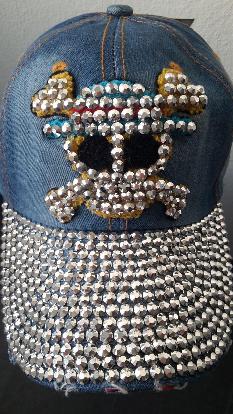 10 x Baseball Kappe Cap Herren Jeans-Strass Totenkopf Mütze blau