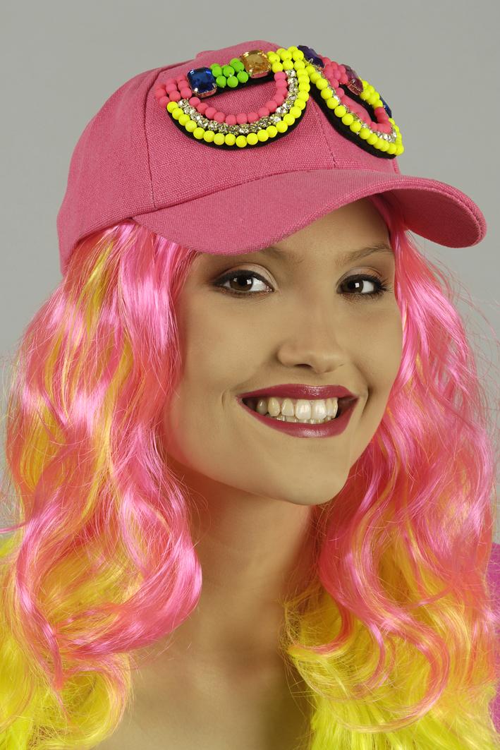 NEON Basball Kappe Cap Mütze Damen Herren pink m. bunter Perlen Brille
