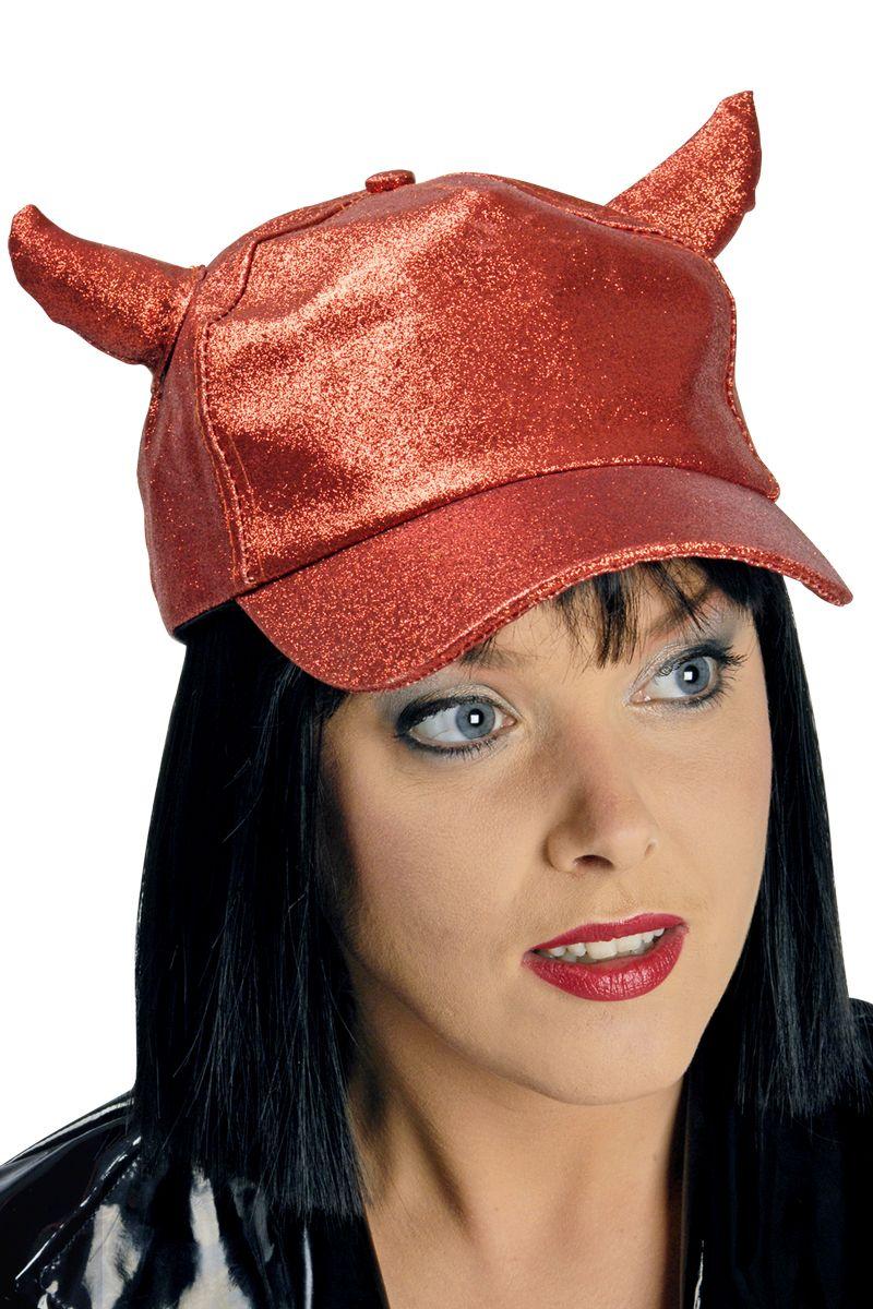 Basball Kappe Cap rot Glitter + Hörner Halloween verstellbar Damen Herren