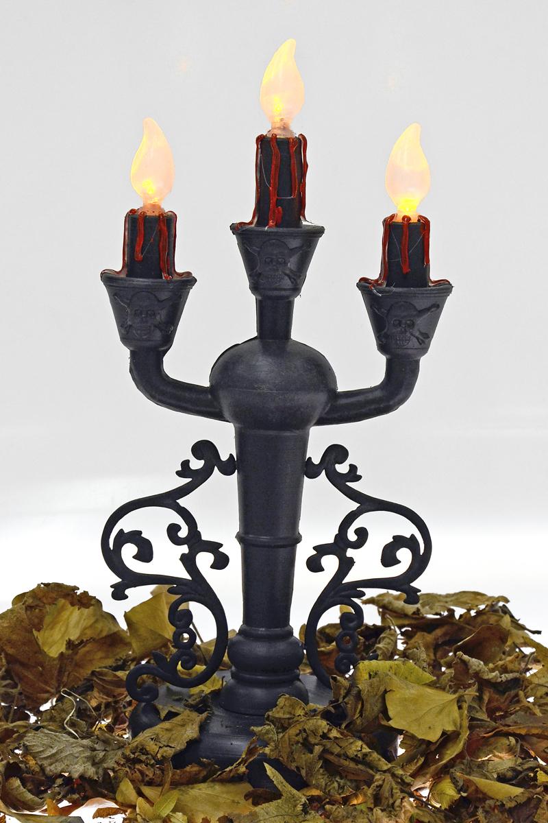 3 -armiger Kerzenleuchter, Ständer Totenköpfe, mit Beleuchtung Deko Halloween