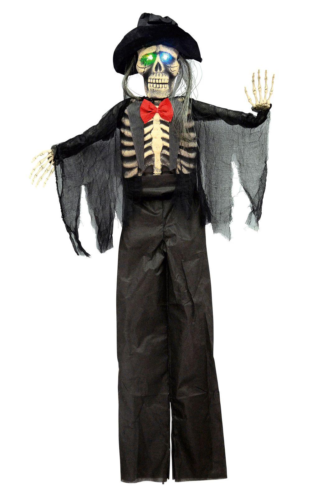 Horror Skelett Bräutigam mit Blinkaugen Deko Halloween inkl Batterien