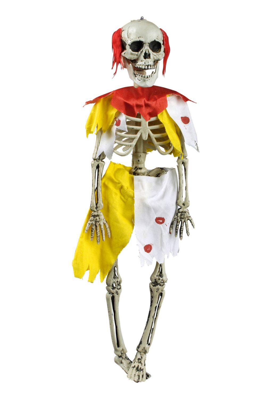 6 x Deko Skelett Figur Zombie CLOWN z Hängen 45x12 beweglich Halloween