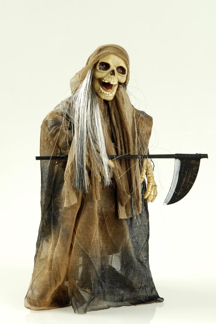Skelett Sensenmann Figur animiert Sound, leuchtende Augen Halloween Deko