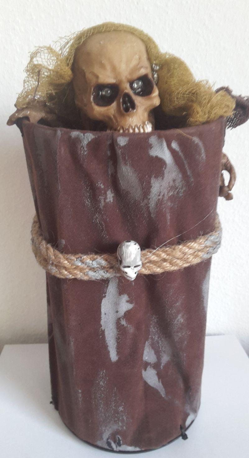 Skelett Figur Deko in Blechtonne animiert,Sound, leuchtet,bewegt sich Halloween