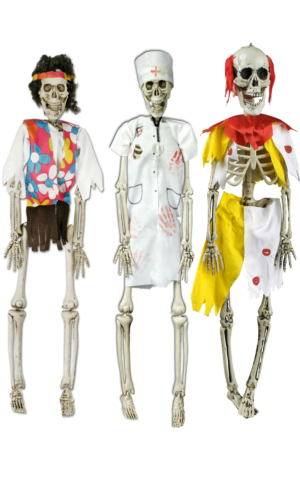 3 x Deko Skelett Figur Zombie CLOWN, CHIRURG, HIPPIE  beweglich Halloween