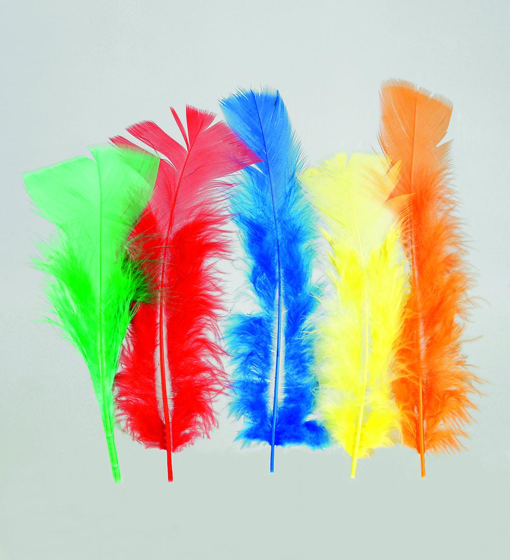 100 Stück Federn BUNT, gefärbt ca.12 cm, Hühnerfedern,Basteln für Kostüme