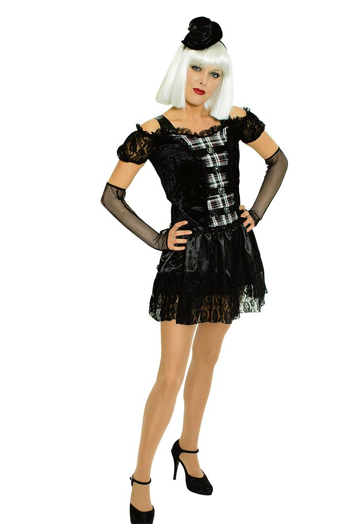 3 tlg. sexy Gothic Punk Vampir Kostüm Damen 36, 40 Halloween