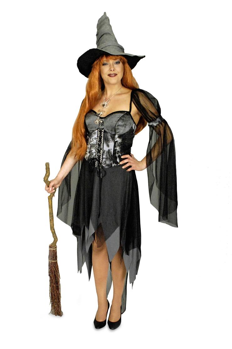 Hexe Zauberin Magerin Kostüm Damen grau schwarz 36-38, 40-42