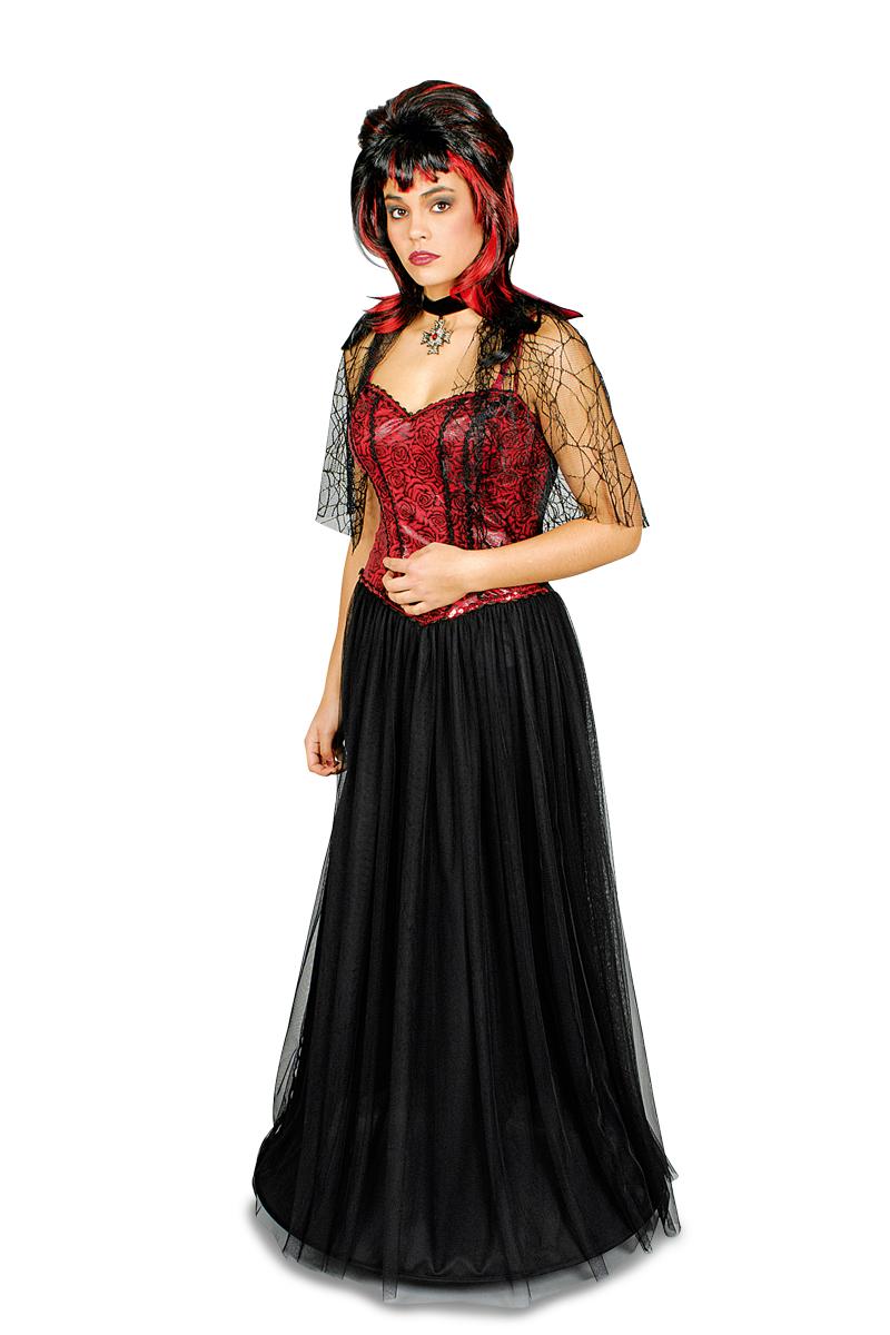 4 tlg.Vampir Gräfin Kostüm,Umhang Halskette Reifrock Armstulpen Damen